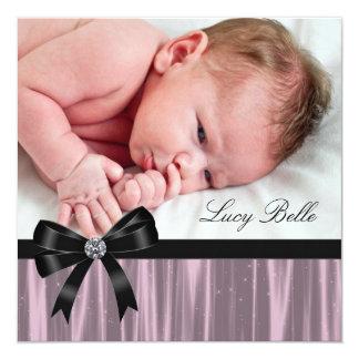 Naissance noire rose de photo de bébé carton d'invitation  13,33 cm