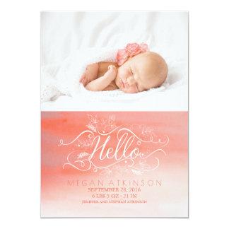 Naissance nouveau-née de photo de bébé d'aquarelle carton d'invitation  12,7 cm x 17,78 cm