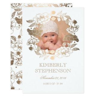 Naissance nouveau-née douce de photo de bébé de carton d'invitation  12,7 cm x 17,78 cm