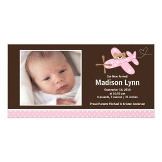 Naissance rose Annoucement de bébé d'avion Photocartes Personnalisées