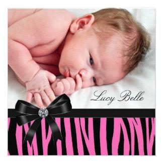 Naissance rose de photo de bébé de zèbre faire-parts
