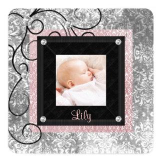 Naissance rose et noire élégante de photo de bébé carton d'invitation  13,33 cm