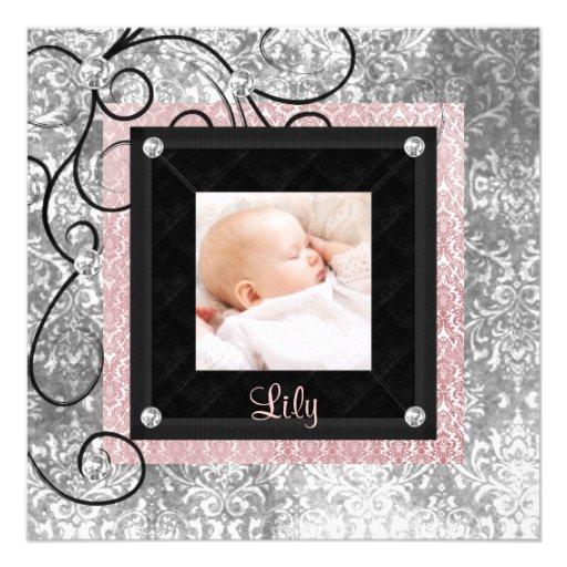 Naissance rose et noire élégante de photo de bébé carton d'invitation