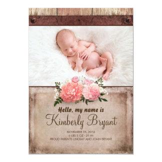 Naissance rustique de photo de bébé de toile de carton d'invitation  12,7 cm x 17,78 cm