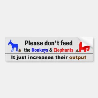 N'alimentez pas les ânes et les éléphants autocollant de voiture