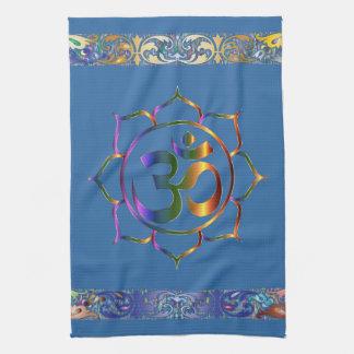 Namaste Aum OM Lotus avec la frontière de cru Linge De Cuisine