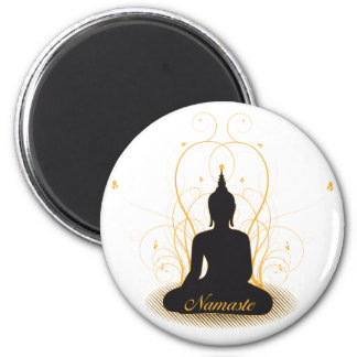 Namaste élégant Bouddha Magnet Rond 8 Cm