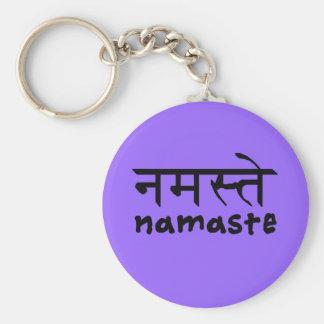 Namaste en anglais et le Hindi Porte-clé Rond
