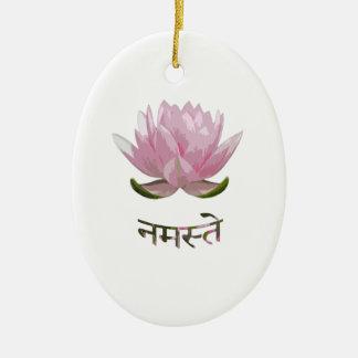 Namaste - Lotus Ornement Ovale En Céramique