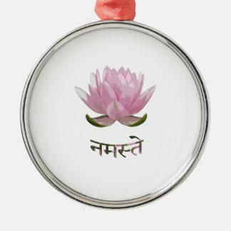 Namaste - Lotus Ornement Rond Argenté