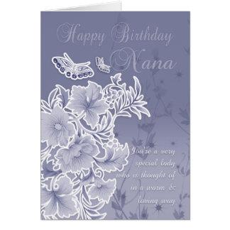 Nana, carte d'anniversaire avec des fleurs et des