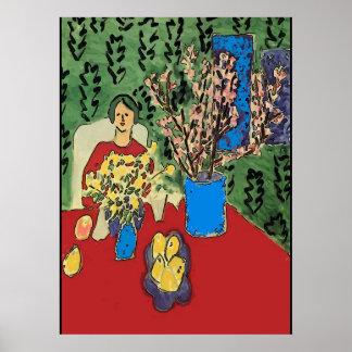 Nancy au Tableau avec Flowersl, style de Matisse