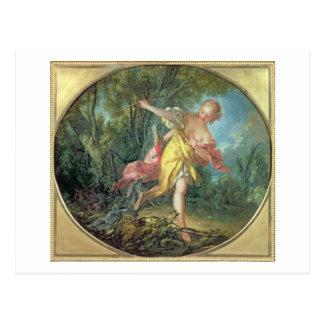 Nandou Sylvia se sauvant du loup, 1756 Carte Postale