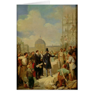 Napoléon III visitant les travaux au Louvre Carte De Vœux