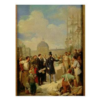 Napoléon III visitant les travaux au Louvre Carte Postale