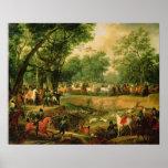 Napoléon sur une chasse dans la forêt de Compiegne Affiche