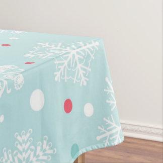 Nappe Blanc de Noël de flocon de neige et rouge bleus