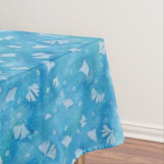 Nappe bleue de Sunprint de Ginkgos et de fleurs