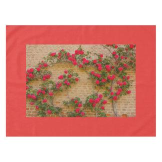 Nappe les roses s'élèvent sur un mur de briques sur la