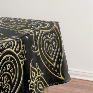 Nappe Motif de relief d'or de Paisley sur le noir