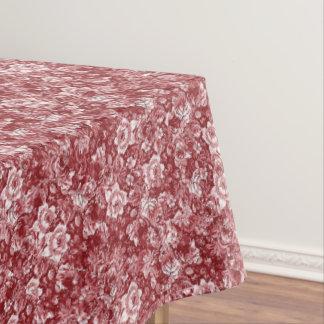 Nappe Motif floral chic blanc rouge chic vintage de