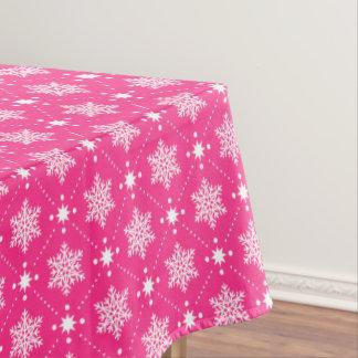 Nappe Motif rose et blanc Girly de Noël de flocons de