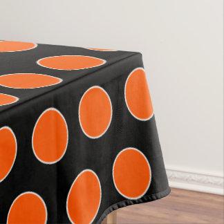 Nappe Points oranges et blancs de Halloween sur le noir