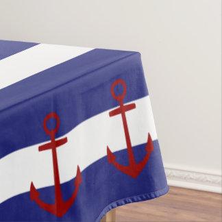 Nappe Rayures bleues et blanches nautiques avec les