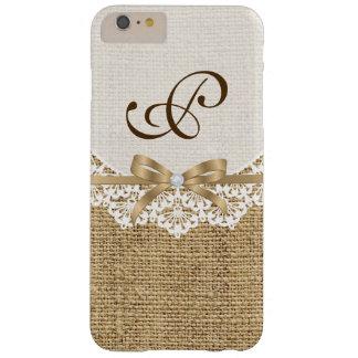 Napperon blanc avec la dentelle et le monogramme coque barely there iPhone 6 plus