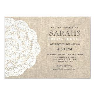 Napperon de dentelle et invitation nuptiale de carton d'invitation  11,43 cm x 15,87 cm