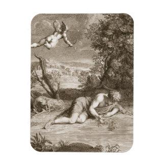 Narcisse transformé en fleur, 1730 (engravi magnets rectangulaire