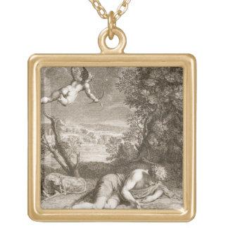 Narcisse transformé en fleur, 1730 (engravi pendentif carré