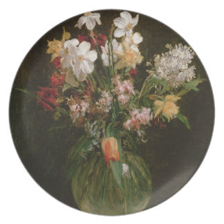 Narcisses Blancs, Jacinthes et Tulipes, 1864 Assiettes Pour Soirée