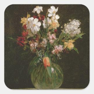 Narcisses Blancs, Jacinthes et Tulipes, 1864 Sticker Carré