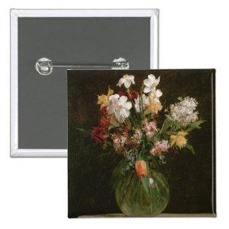 Narcisses Blancs, Jacinthes et Tulipes, 1864 Badge Carré 5 Cm