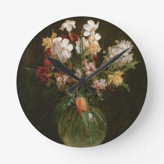 Narcisses Blancs, Jacinthes et Tulipes, 1864 Horloge Ronde