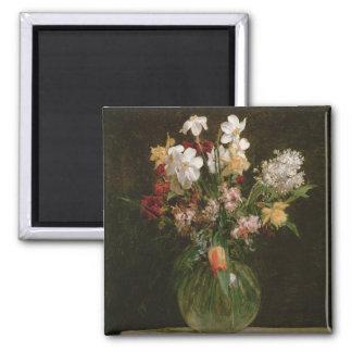 Narcisses Blancs, Jacinthes et Tulipes, 1864 Magnet Carré