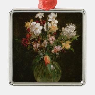 Narcisses Blancs, Jacinthes et Tulipes, 1864 Ornement Carré Argenté