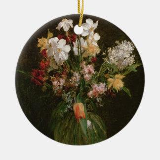 Narcisses Blancs, Jacinthes et Tulipes, 1864 Ornement Rond En Céramique