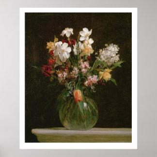 Narcisses Blancs, Jacinthes et Tulipes, 1864 Poster