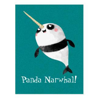 Narwhal et panda dans un carte postale