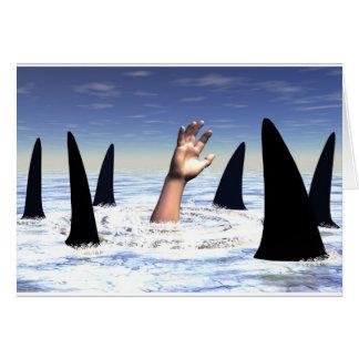 Natation avec des requins carte de vœux