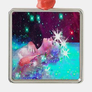 Natation dans un rêve cosmique ornement carré argenté