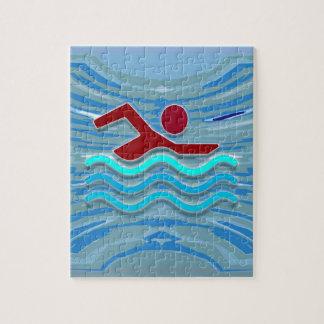 Natation de forme physique d'exercice de nageur de puzzle