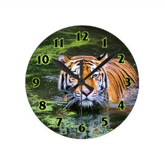 Natation de tigre horloge ronde