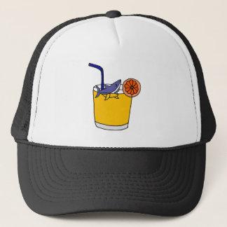Natation drôle de requin en jus d'orange casquette