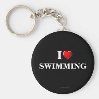 Natation : J'aime nager le porte - clé Porte-clé Rond