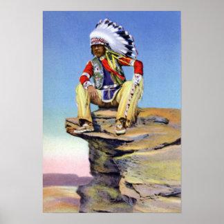 Natif américain dans le costume porté en équilibre affiches