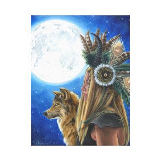 Natif américain de loup de toile d'art de Viking