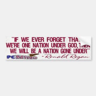 Nation de la citation une de Regan sous Dieu Autocollant Pour Voiture